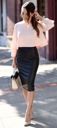 Pastel Top, Black Pencil Skirt & Nude heels.