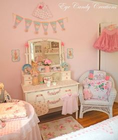 I'm normally not a very girly girl, but this room has my heart! I love that its sophisticated and yet not too grown up for a little girl, but could also work for a grown woman. As a southern girl, I really admire the small flowery touches!