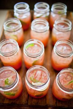 Refreshing drink served in mason jars.