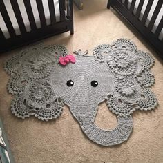 Crochet elephant rug, girl nursery, girl room, grey and pink