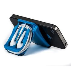 iPhone Stand and Blue Earphone Case