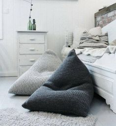 STYLECASTER | Fall Decorating Ideas | Chunky Merino Wool Grey Knitted Bean Bag