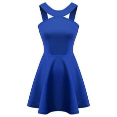Chicnova Fashion Solid Halter Neck Cutout Dress (570 UYU) ❤ liked on Polyvore featuring dresses, vestidos, short dresses, halter mini dress, halter-neck dress, cutout dresses, halter dress and blue halter top