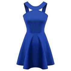 Chicnova Fashion Solid Halter Neck Cutout Dress ($19) ❤ liked on Polyvore featuring dresses, halter neckline dress, blue zipper dress, zip dress, cut out halter dress and cutout dress