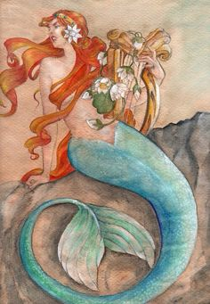 Red Hair Mermaid  with blue tail sitting on a rock holding harp & flowers art ❤️