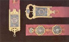 15th century Venetian velvet plaque belt- striped velvet! - British Museum