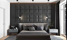 2 Masculine Interiors in Shades of Grey Black & Brown
