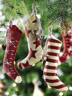 Rustic Christmas stocking tree ornaments Toni Kami Joyeux Noël Primative