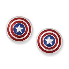 Marvel Comics Silver-Tone Captain America Post Earrings