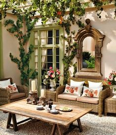 As a homeowner, you have the luxury of creating indoor and outdoor living areas to enjoy. Adding or replacing your patio can improve the beauty and functionality of your yard. However, you need to choose the right patio design ideas to incorporate into. Outdoor Furniture Sets, Decor, Outdoor Decor, Farmhouse Decor, Outdoor Space, Outdoor Rooms, Chic Decor, Home Decor, Shabby Chic Homes