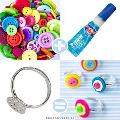Samlade pysseltips / All my DIY's Diy Button Rings, Button Art, Button Crafts, Diy Rings, Diy Crafts To Do, Cute Crafts, Diy Projects To Try, Tutorial Anillo, Diy Tutorial
