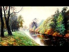 """""""Autumn in the park. River"""" Easy landscape painting tutorial. Oil painting for beginners. Acrylics - YouTube"""