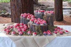Mushroom Cupcakes! Chocolate cake mix, red icing, and white chocolate chips