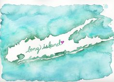 Watercolor Map of Long Island for Hurricane Sandy Relief by Tiffany Pelczar. All proceeds go directly to The Red Cross. I need one