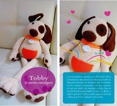 tobby el perro mensajero en crochet para ayudar a disminuir la ansiedad de los niños ante la ausencia de los padres