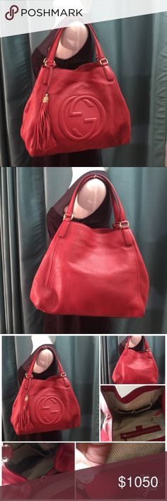 """Authentic Gucci red Soho leather. Authentic Gucci red Soho leather. Gorgeous red color leather, cotton linen lining with interior pocket, 2 small pocket for phone. Key chain. Size 13 x 5 x 11. Used with care but no sign of wear outside ( no scratch, no scuff), inside has a few inks ( see pics),  come with dust bag. Make in Italy, double strap with 6.3"""" drop. Gucci Bags Hobos"""