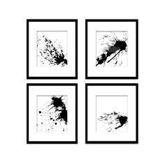 Paint Splatter Set 6, Black And White Art, Digital Black And White Art Prints, Abstract Art, Contemporary Art, Printable Art, Home Decor