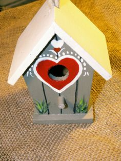 Sold Handpainted mini Bird House OOAK home decor