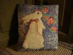 Primitive Rabbit Quilt Back Pillow