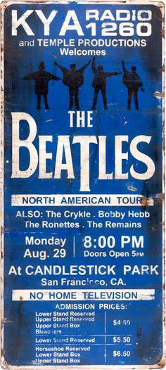 Beatles KYA Radio Hand-Painted Wooden Sign for Candlestick Park Concert