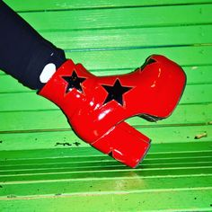 bffa2a2a88e Red Patent Leather Platform Circus 70 s Boots with Black Stars - Handmade  to order by Isabella