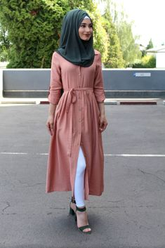Button front shirt outfit is elegant apparel fashion that can rock your personality with hijab pair. modern muslim girls are like button front short dress Modesty Fashion, Hijab Fashion, Fashion Outfits, Stylish Hijab, Casual Hijab Outfit, Muslim Women Fashion, Indian Fashion Dresses, Stylish Dresses For Girls, Stylish Dress Designs