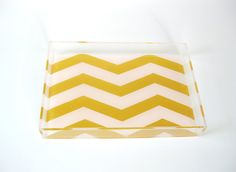 So sweet! Petite Lucite Tray - Blush/Gold Chevron from Tilly Maison.