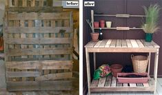 repurposed old pallet into an outdoor garden station. I'm officially on the pallet hunt. Pallet Potting Bench, Pallet Crates, Old Pallets, Wooden Pallets, Pallet Wood, Pallet Benches, Outdoor Pallet, Pallet Ideas, Pallet Creations