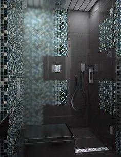 Modernes Bad Schokolade Farbe Fliesen Glänzende Mosaik Akzente ... Mosaik Akzente Badezimmer