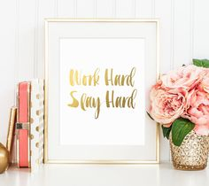 Office Gold Decor Work Hard Slay Hard Gold by #PrintableBeautyArt #Gold_Quote #Gold_Letter_Decor #Gold_Work_Print #Gold_Print #Office_Print #Printable #Cubicle_Decor