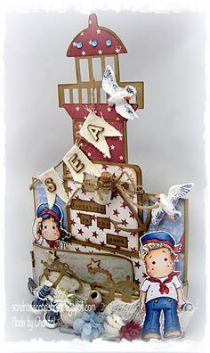 Cards made by Chantal: Lighthouse by Sandra's Scrapshop - bendy fold card