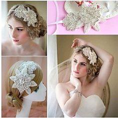 FLOW ZIG Women Flower Handmade PearlCrystal TiarasHeadbandsForehead Jewelry With CrystalPearl WeddingParty Headpiece *** Learn more by visiting the image link.