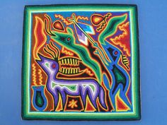 Huichol Yarn Painting - Latin - Mexican Folk Art Craft  Another lesson idea - use yarn