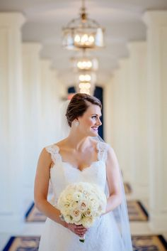 Beautiful hallway for bridal portraits at the Morris Inn on Notre Dame campus.