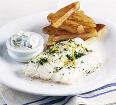 Healthy fish & chips with tartare sauce - A perfectly healthy Friday night special meal for two, fish and chips.