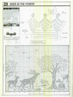 Gallery.ru / Фото #131 - Crochet Filet pour Point de Croix 1 - Mongia Crochet Curtains, Crochet Tablecloth, Crochet Doilies, Crochet Lace, Crochet Deer, Thread Crochet, Crochet Animals, Just Cross Stitch, Cross Stitch Animals