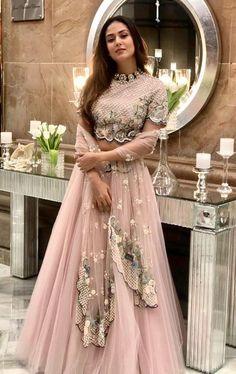 Mira Rajput Kapoor wears a pastel lehenga and choker at a friend's Delhi wedding. - Mira Rajput Kapoor wears a pastel lehenga and choker at a friend's Delhi wedding Indian Fashion Dresses, Indian Bridal Outfits, Indian Gowns Dresses, Dress Indian Style, Indian Designer Outfits, Indian Wedding Gowns, Punjabi Wedding, Designer Bridal Lehenga, Bridal Lehenga Choli