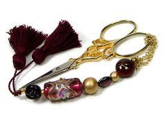 Beaded #Scissor #Fob Burgundy Gold DIY Crafts by TJBdesigns on Etsy, $18.00