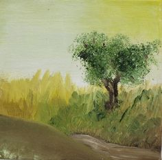Ideas for Laura - Lonely Olive Tree Nature Painting Landscape Oil Painting by Lishna, $45.00
