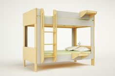 Our Cabin Bunk Bed is our most compact and economical bunk bed and it easily converts into two twin beds. When stacked, the bottom bunk becomes an enclosed space, similar to a small cabin. A suspended ladder allows for the trundle to be pulled out unobstructed.