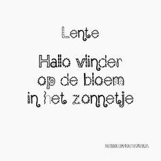Lente. Hallo vlinder op de bloem in het zonnetje #nederlands #tekst #lief…