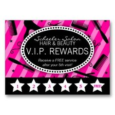 Hot Pink & Black Salon Loyalty Business Card. Easily edit with your own Salon program.