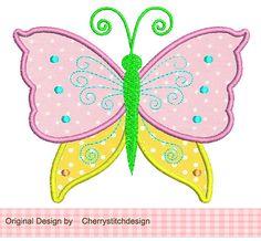 Butterfly 2 Applique 4x4 5x7 6x10Machine by CherryStitchDesign, $2.99