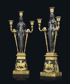 A PAIR OF EMPIRE 'RETOUR D'EGYPTE' ORMOLU AND PATINATED-BRONZE THREE-LIGHT CANDELABRA ATTRIBUTED TO PIERRE-PHILIPPE THOMIRE, CIRCA 1805
