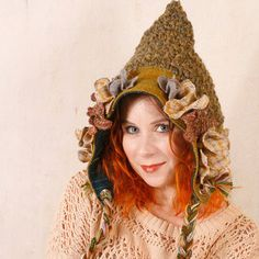 Pixie hat Woman Woodland hat Gnome hat Green Crochet hat woman Crochet hat green Adult crochet hat Green hat woman Pixie hat