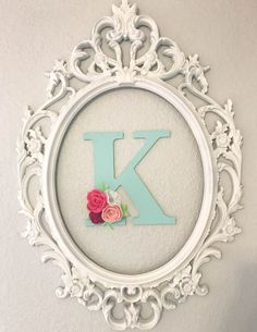 Nursery Wall Decor || K with Felt Flowers