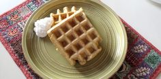 Allergy friendly pumpkin waffles.  Egg free, dairy free, soy free & delish!