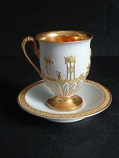 Antique Gold Gilt Embossed Meissen Porcelain Footed Cup Saucer Classical Motif