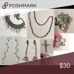 8 Piece Jewelry Lot 21 - Vintage Costume Jewelry purchased from an estate sale 22 - Necklace 23 - Mother of Pearl Leaf Pendant 24 - Handmade Pearl Dangle Earrings 25 - Costume Jewelry Dangle Earrings 26 - Cross Pendant (No idea the value, was a gift) 27 - Gemstone Ring 28 - Gemstone Ring Jewelry