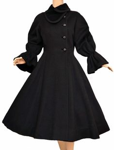 1940 | Black Wool Coat with Asymmetric Closure and Black Velvet Collar and Cuffs by Lilli Ann
